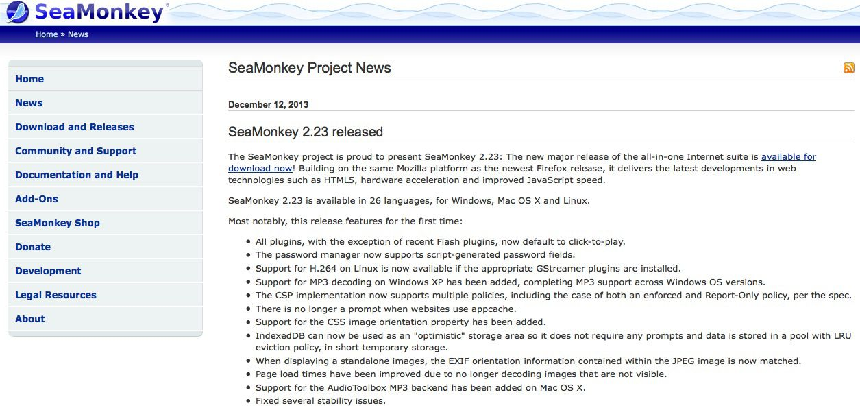 SeaMonkey-project-website-design-ireland